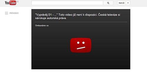 Nelegálně nahrané díly Vyprávěj nechává Česká televize z YouTube a dalších úložišť mazat