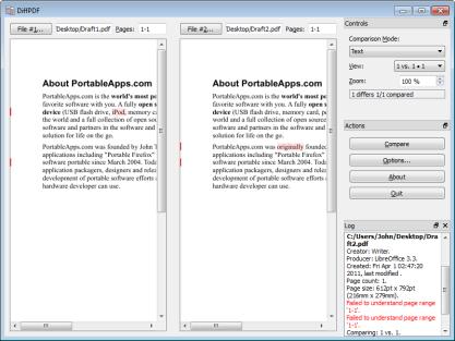 DiffPDF najde rozdíly v PDF dokumentech