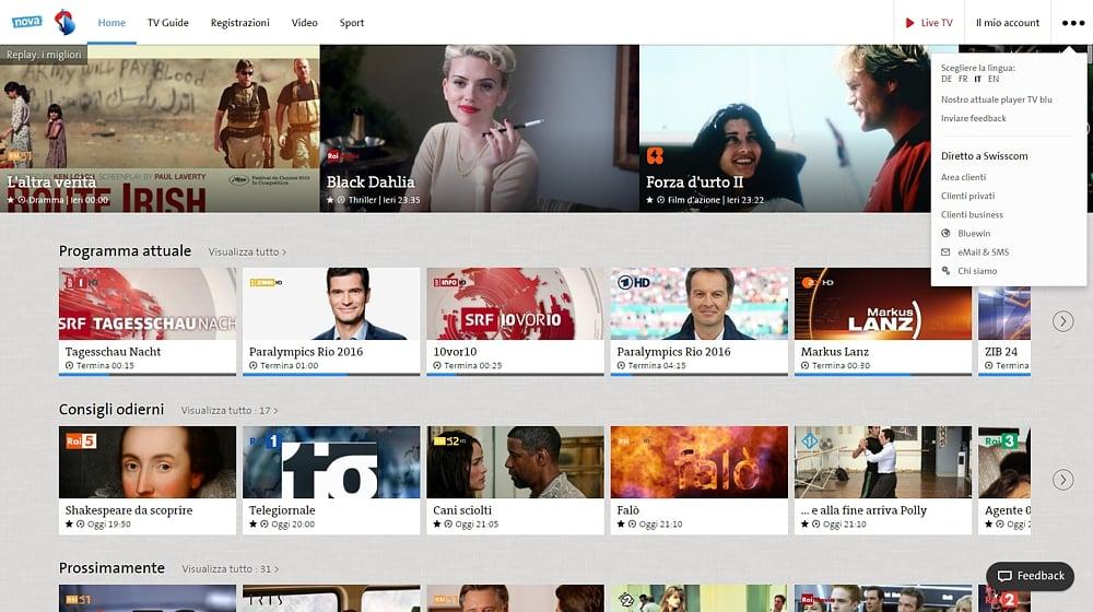 Swisscom TV - uživatelský účet a další volby
