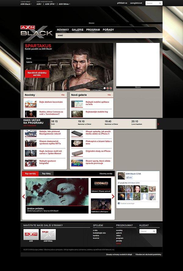 Náhled webových stránek nové stanice AXN Black