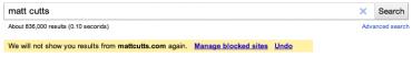 Blokování výsledků vyhledávání Google.com