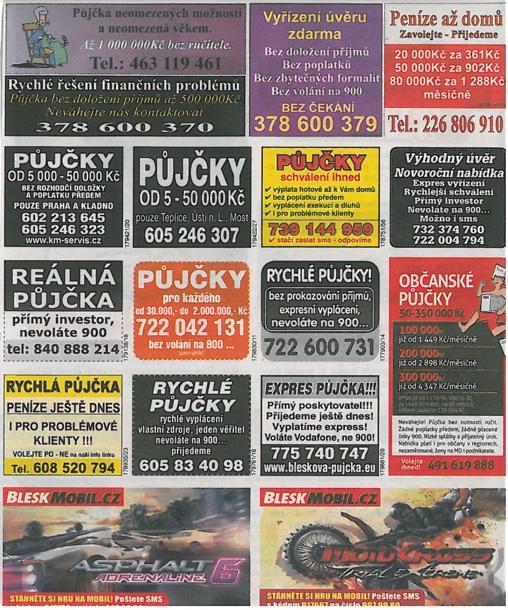 Inzeráty lákající na rychlé půjčky najdete třeba v novinách hypermarketu.