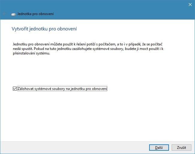 Operační systémy Windows 8 a Windows 10 mají v sobě integrován nástroj pro vytvoření záchranného disku označovaného také jako jednotka pro obnovení