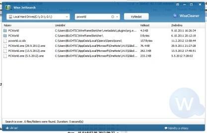 Wise JetSearch hledá soubory