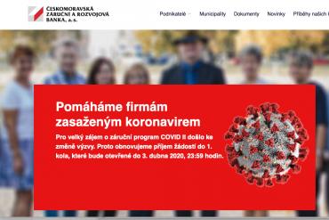 Českomoravská záruční a rozvojová banka informuje o obnovení příjmu žádostí do programu COVID II. (2.4.2020)