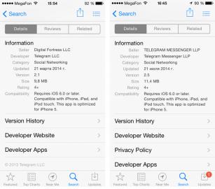 Vlevo původní aplikace Telegram, vpravo nová verze Telegram HD nabízená pod hlavičkou Telegram Messenger LLP.