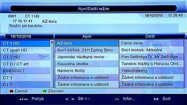 Informace se v EPG objeví až po najetí dálkovým ovládáním na požadovaný program. Vždy se pak zobrazí EPG u celého multiplexu.