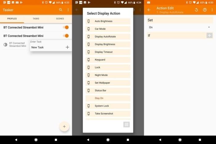 Konfigurace aplikace Tasker pro automatické zamykání a odemykání orientace obrazovky