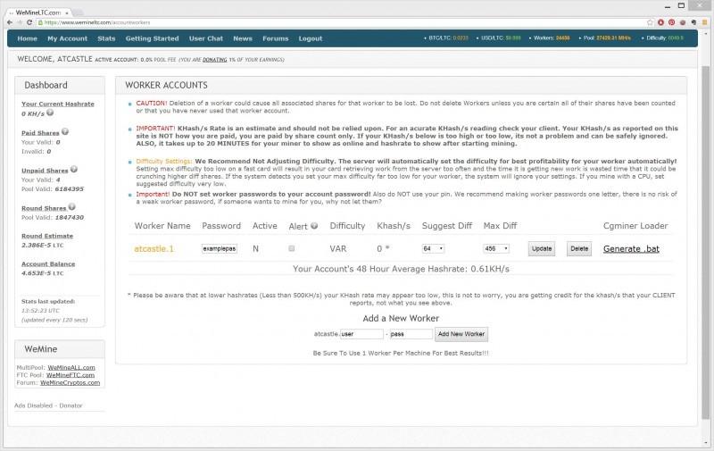 Internetová stránka těžařů WeMineLTC