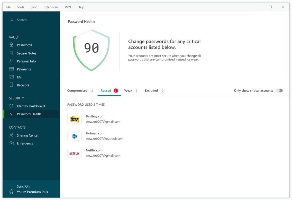 Přehled Password Health programu Dashlane vás upozorní na slabá, zneužitá a opakovaně používaná hesla, takže můžete tato nevyhovující hesla velmi snadno změnit.