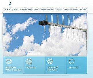 Původní web Towercomu informující o slovenském DVB-T. Obrázek lze zvětšit.