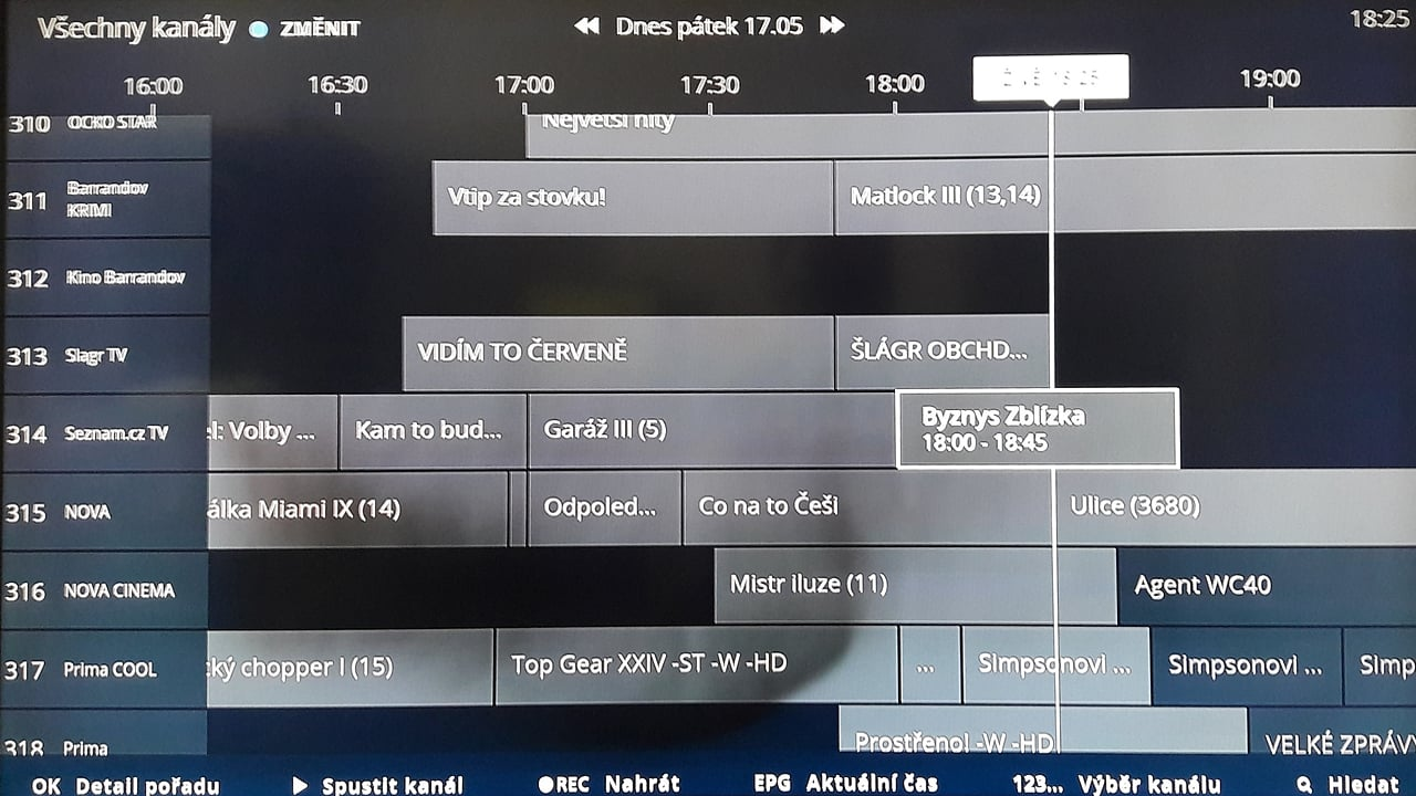 EPG pro DVB-T na O2 TV