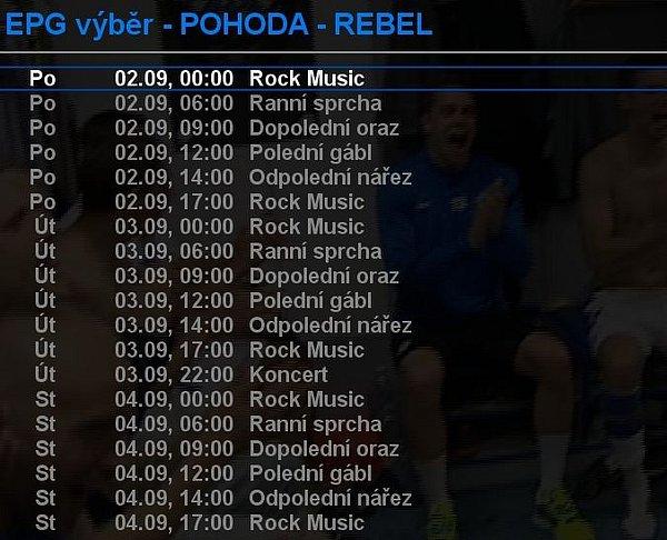 Ukázka z elektronického programového průvodce chystané stanice Pohoda Rebel