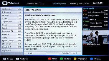 Fotografie teletextového oznámení České televize o posunu vstupu do DVB-T2 na 1. čtvrtletí 2018.