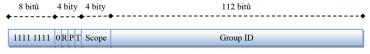 Obecný formát multicastové adresy