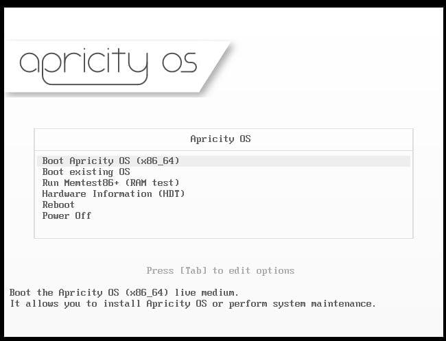 Instalace Apricity OS