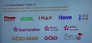 Kanály dostupné v přechodovém DVB-T2 multiplexu Českých Radiokomunikací.