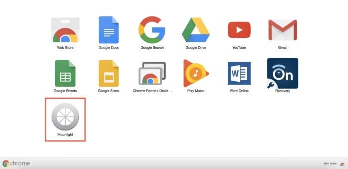 Moonlight jako rozšíření v internetovém prohlížeči Chrome