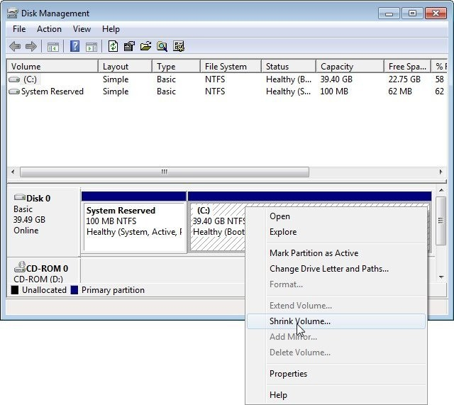 Zmenšení diskového oddílu v programu Správa disků
