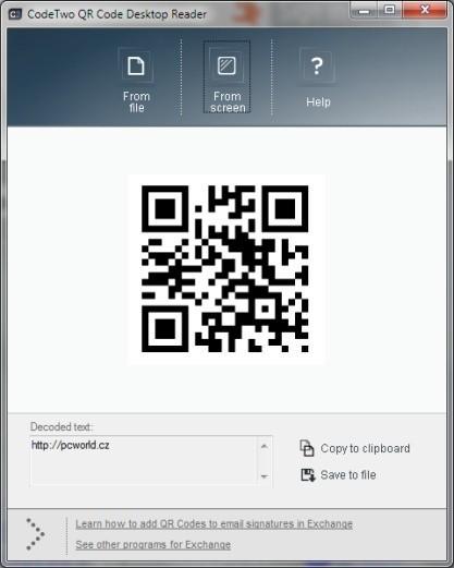 QR Code Desktop Reader je čtečka QR kódů pro PC