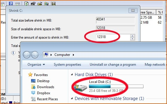 Váš disk má 23 GB volného místa, nicméně program Správa disků vás nechá zmenšit diskový oddíl pouze o 12 GB.