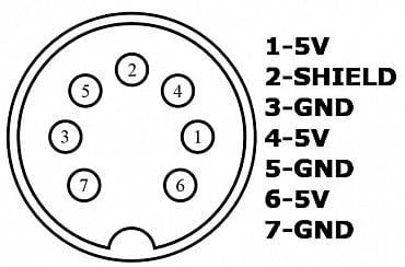 Rozložení pinů na napájecím konektoru.