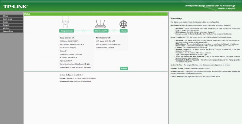 Webové rozhraní bezdrátového opakovače TP-Link TL-WA860RE