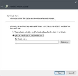 Průvodce importem certifikátu ve Windows 10