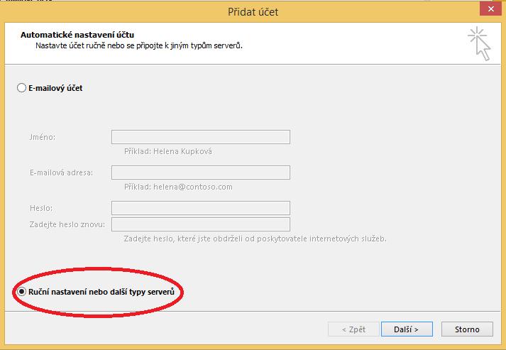 Ruční nastavení e-mailového účtu v Outlooku