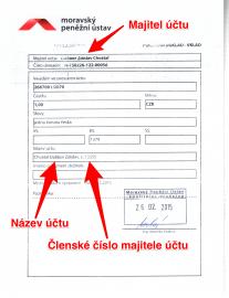 Moravský Peněžní ústav u vkladu hotovosti prozradí majitele, jeho členské číslo i název (pojmenování) účtu.