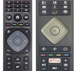 Oproti například PFK6300 (vlevo) je dálkový ovladač PUS6501 zcela přepracován. Bohužel veledůležité tlačítko TV bylo zmenšeno a je nyní hodně zasuté. To, zda si na jeho polohu zvyknete či nikoli (dokážete ho dobře nahmátnout po slepu) je pro ovládání televizoru klíčové.