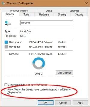 Vypnutím indexování zrychlíte veškerou činnost operačního systému (samozřejmě kromě samotného vyhledávání)