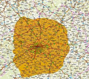 Mapa pokrytí je pouze teoretická. S venkovní anténou bude dosah multiplexu bez pochyby mnohem vyšší. Mapu lze poklepáním zvětšit.