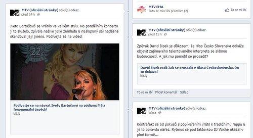 Nova využívala facebookový profil lokální verze MTV v poslední době především  pro propagaci svého bulvárního webu Prásk!. Odkazy skrývala pod zkracovače adres.