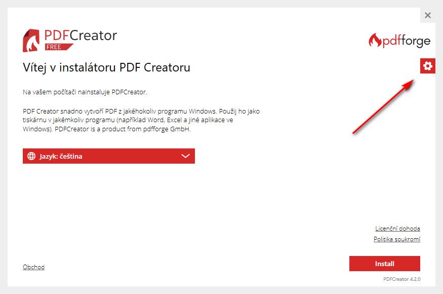 PDFCreator - nastavení součástí instalace
