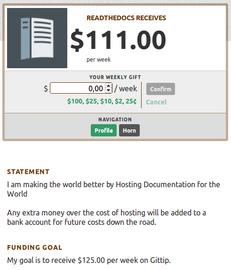 Profil webu ReadTheDocs.org pro hostování dokumentací