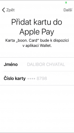 Přidání karty boom do Apple Pay.
