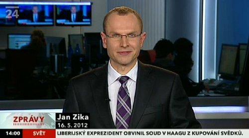 Jan Zika na zpravodajském kanálu ČT 24 v květnu 2012.