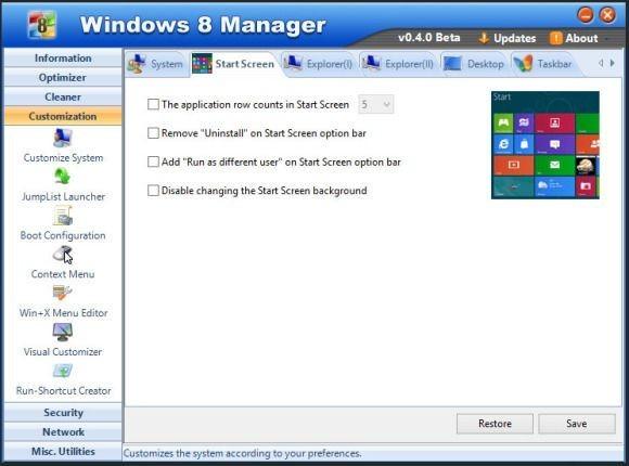 ows 8 Manager vám ve Windows 8 nabídne daleko větší možnost ovládání obrazovky Start, než vám dovolí firma Microsoft