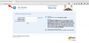 Podvodný web lákající údaje klientů GE Money Bank (6. července 2015)
