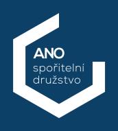 Logo ANO spořitelního družstva.