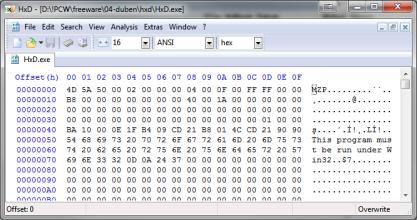 HxD otevře HEX soubory