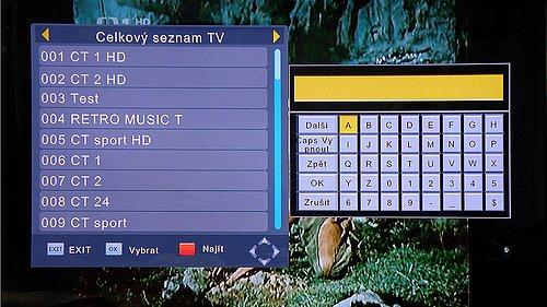 Tlačítkem FIND vyvoláte okno pro funkci vyhledávání stanic v seznamu pomocí virtuální klávesnice