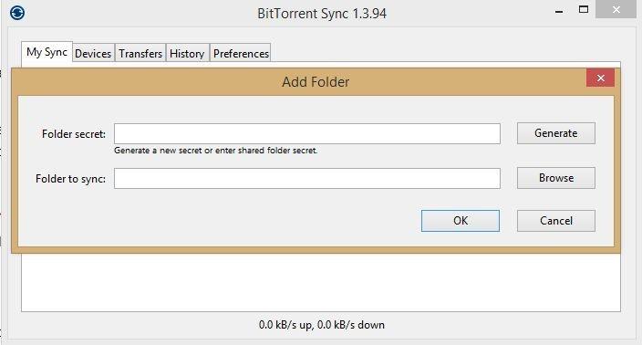 """Abyste mohli synchronizovat obsah složky v jednom počítači s obsahem složky v druhém počítači, musíte znát kód """"secret"""" a také se musíte rozhodnout, kam budete synchronizovaný obsah ukládat."""