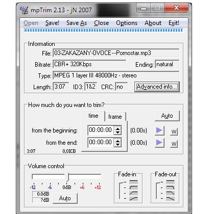mpTrim je výkonný editor audio souborů