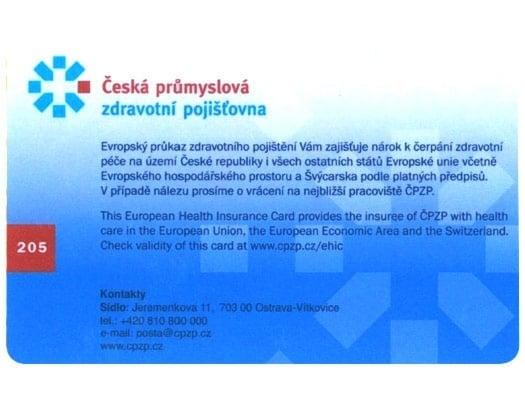 Evropský průkaz zdravotního pojištění Česká prům. zdrav. poj