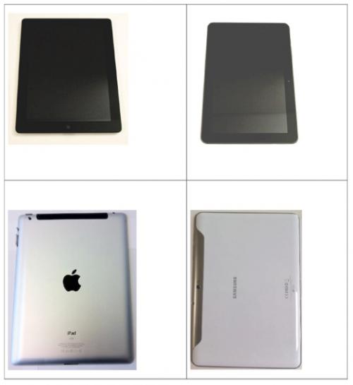 Porovnání iPad 2 a Galaxy Tab 10.1 ze zadu a ze předu. Vyrobil Samsung svůj tablet čistě náhodou tak podobný iPadu?