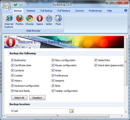 Pomocí FavBackup zazálohujete nastavení prohlížeče včetně záložek