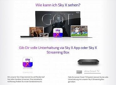 Možnosti sledování Sky X