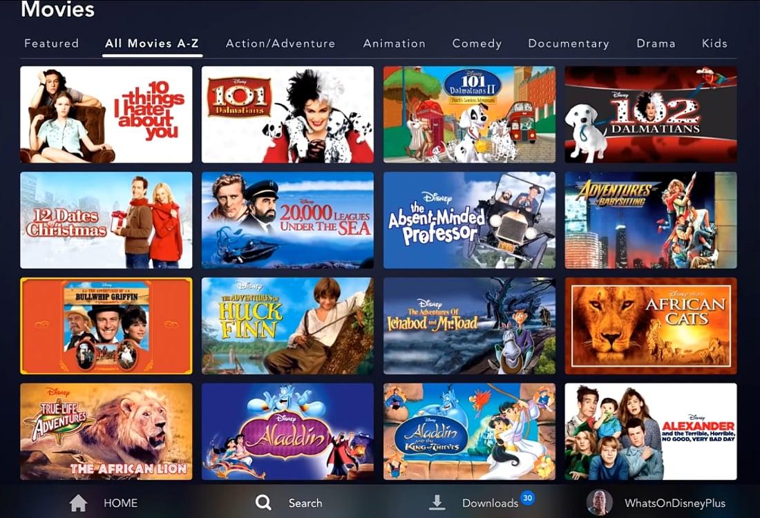 Abecední katalog filmů Disney+